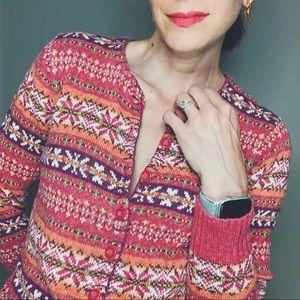 Vintage Sweaters - Vintage fair isle button cardigan knit sweater